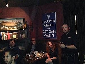 From the right to left, we have Ranald Watson (Springbank), Donna Wolff, David Beauroy (Oenophilia) and David Wolff